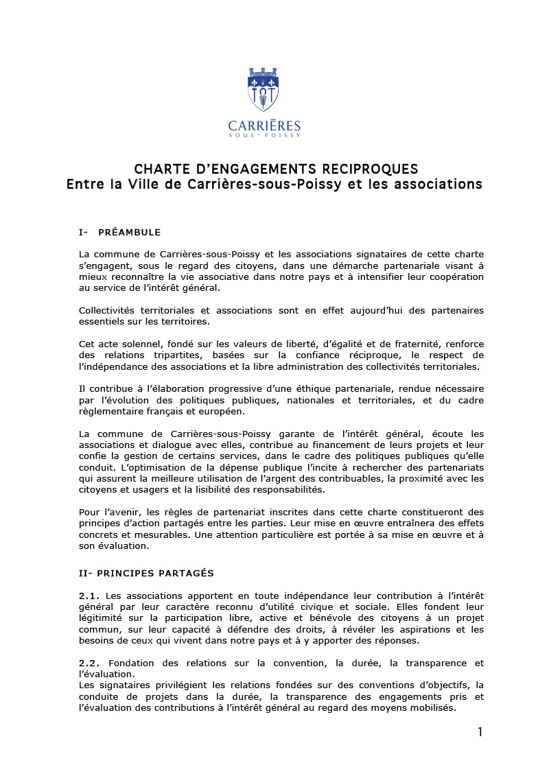 Charte engagements reciproques